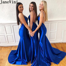 08257752d4 JaneVini Sexy adolescente vestidos largos de baile azul real sirena vestidos  de noche vestido de Color caramelo con cuello en V ..