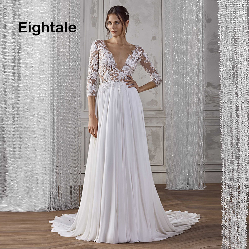 Eightale Boho Wedding Dresses V Neck White Ivory Appliques A Line Chiffon Three Quater Sleeves Bridal Dress Wedding Gowns 2019