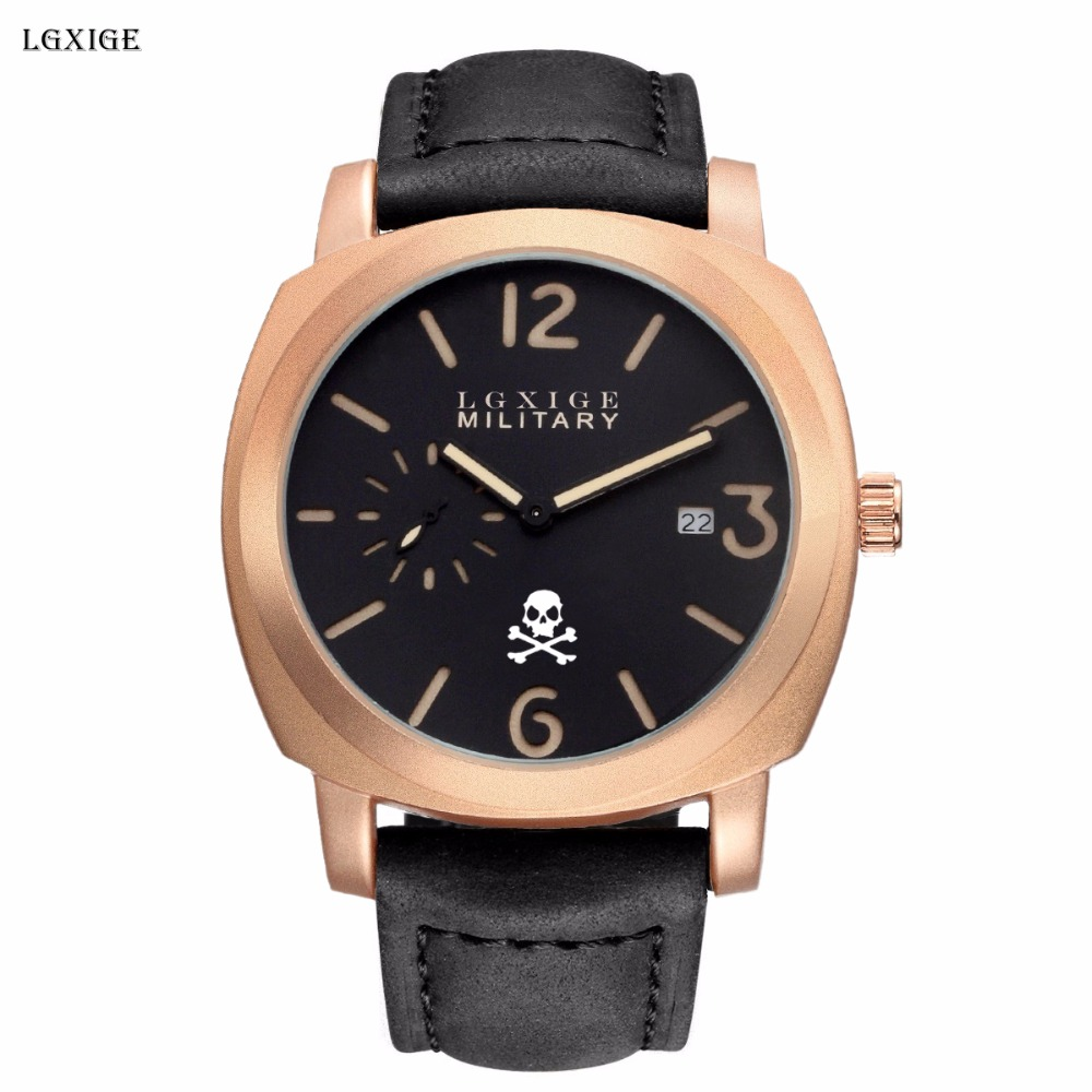 LGXIGE Skull Men Wrist Watch Genuine Leather Military Watch Men Army Retro Fashion Male  ...