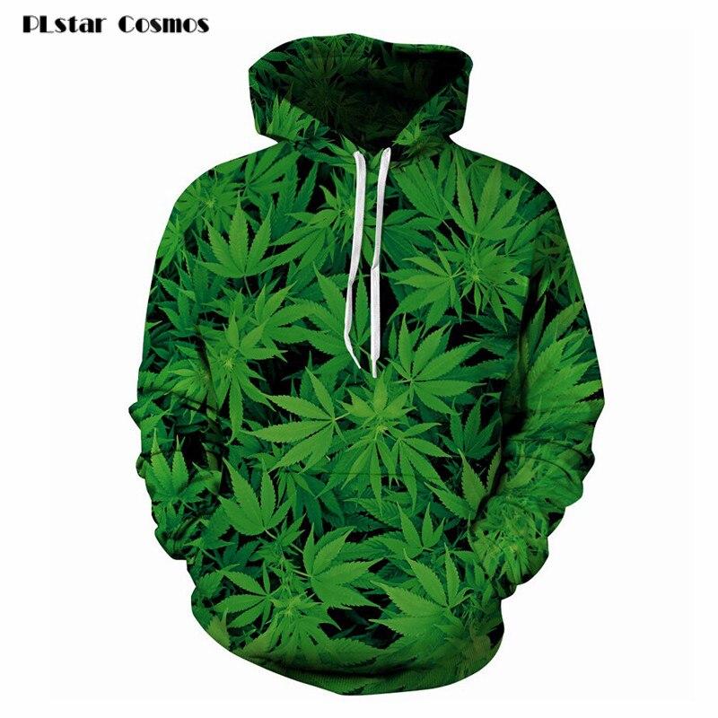 PLstar Cosmos Nuovo 3D Felpa Abbigliamento Casual Top Donna/Uomo Harajuku Con Cappuccio Verde Weed Leaf Stampato Hoodies Moda Sportswear