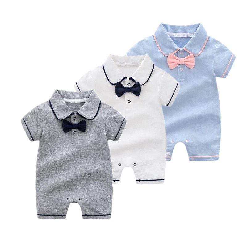 2019 new style Summer Baby Boy gril Rompers 100% Cotton Baby Clothes Gentleman Baby Boys Romper  Toddler Kids Jumpsuits birthday