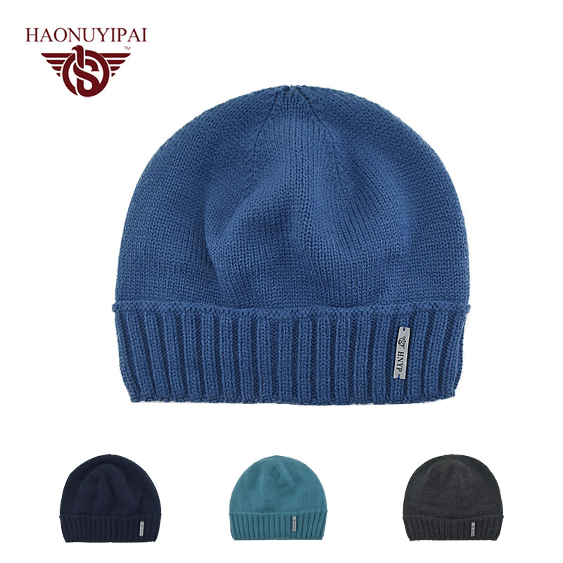 e1339cd3391 Mens Winter Hats Knitting Warm Skull Cap Blue Black Cotton Hat Slouchy Beanie  Casual Fashion Soft Male Thick Fur Inside Caps -in Skullies   Beanies from  ...