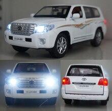 Wysoka symulacja 1:32 Toyota LAND CRUISER pojazdy odlew ze stopu zabawki modele samochodów z wycofać dźwięk światło dla dzieci zabawki dla dzieci