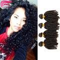 Класс 7А Монгольские Afro Kinky Вьющиеся Девы Волос 4 Bundle предложения короткая Прическа Человеческих Волос Weave Afro Kinky Вьющиеся Hiar Unice Волос