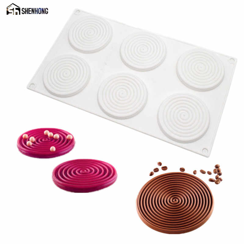 SHENHONG เกลียวรูปร่างแม่พิมพ์ซิลิโคน 6 หลุมพีช 3D แม่พิมพ์เค้กมูสสำหรับไอศกรีมช็อกโกแลต Pastry Bakeware ขนม Art PAN