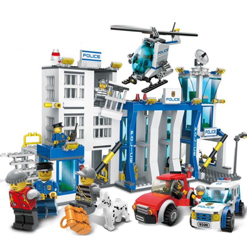 GUDI Police Station Building Blocks 870pcs Bricks Helicopter Motorcycle Toys Birthday Gift bohs building blocks city police station coastal guard swat truck motorcycle learning
