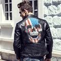 2016 Invierno Hombres de la Chaqueta de Cuero Chaquetas de Cuero Y Abrigos Jaqueta De Couro Masculina PU Leather Mens Skull Punk Veste Cuir Homme