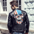 2016 Winter Leather Jacket Men Leather Jackets And Coats Jaqueta De Couro Masculina PU Leather Mens Skull Punk Veste Cuir Homme