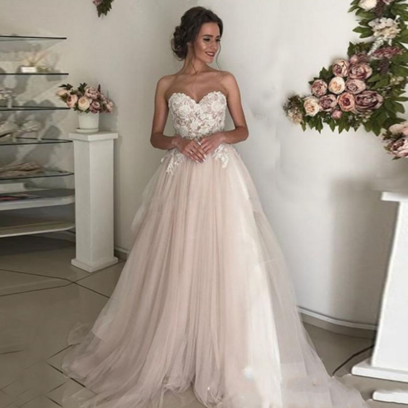 Princess Light Pink Lace Wedding Dress With Off The: Beach Wedding Dress Lace Sweetheart A Line Appliques Tulle