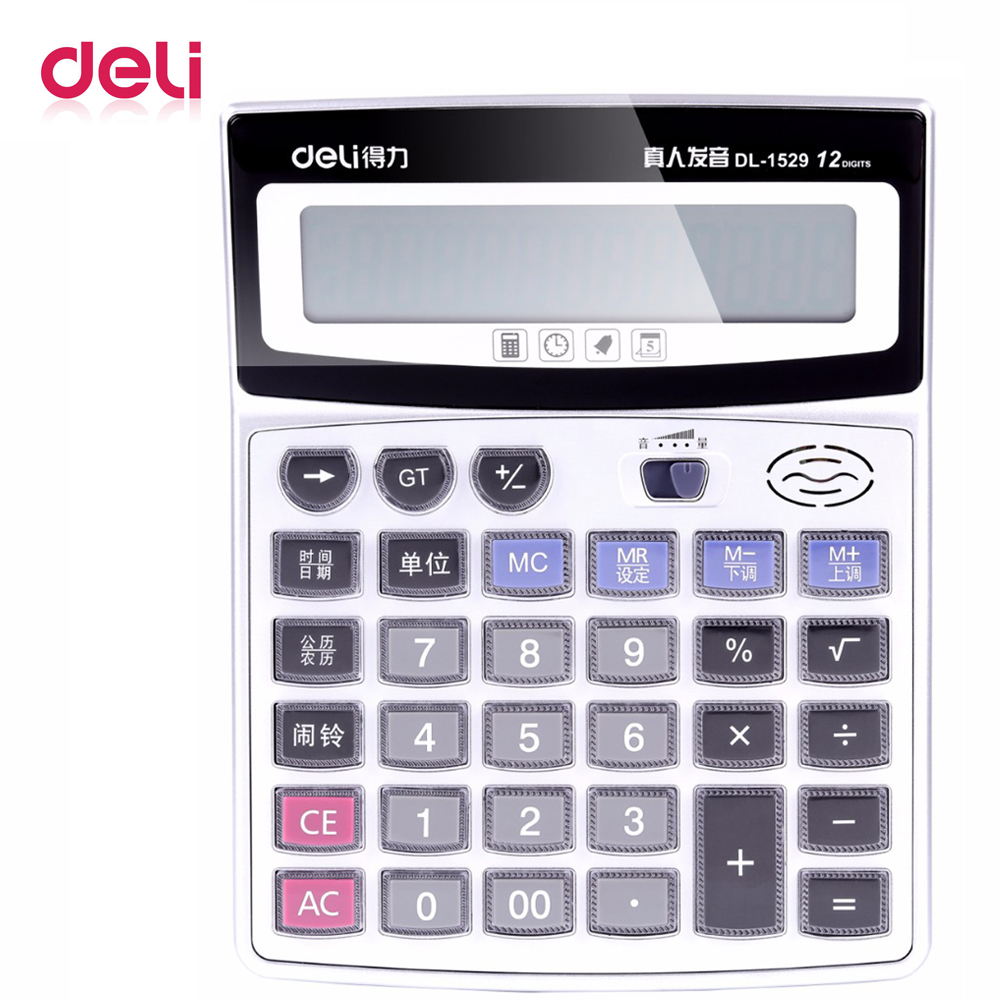 Deli 1 pcs voice calculator 1529 Authentic Crystal big AAA button computer 12 digits big screen with Clock science calculator in Calculators from Computer Office