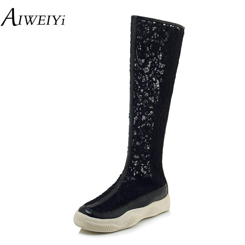 AIWEIYi été bottes dentelle Design découpe chaussures femmes mode Style à la mode femme broderie chaussures bottes longues bottes