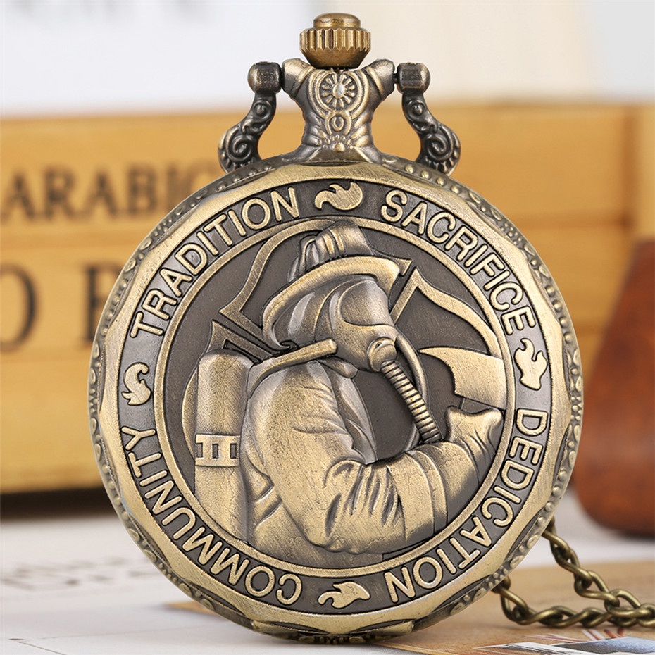 Bronze Fire Fighter Display Quartz Pocket Watch Fob Chain Exquisite Embossed Design Necklace Pendant Steampunk Souvenir Clock