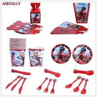 Birthday Party Supplies 92pcs For 6 kids Miraculous Ladybug Comic Lady Theme Decorate Dishes And Cup and Flag Paper Party Tools