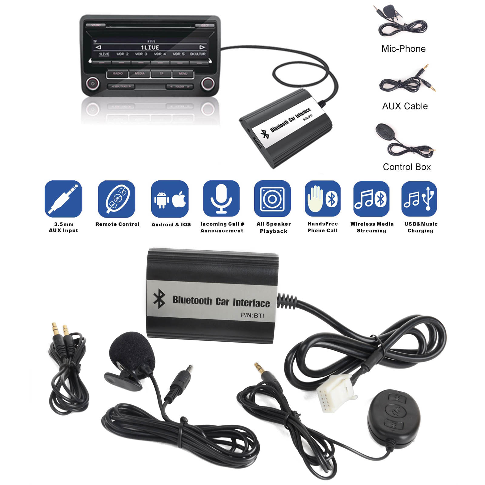 MAYITR 1Set Car Stereo Bluetooth Kits Hands-free Adapter USB AUX Interface for Toyota 2*6 with Car Electronics Accessories car usb sd aux adapter digital music changer mp3 converter for skoda octavia 2007 2011 fits select oem radios
