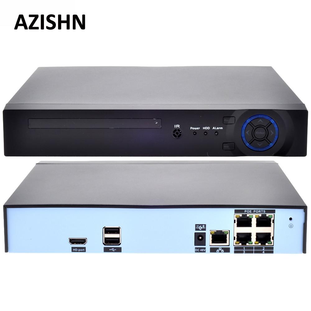 AZISHN 48V POE 4CH 5MP/4MP H.265 H.264 POE NVR DVR CCTV System ONVIF Real Time Network  Hi3798M for IP Camera XMEYE P2P 3G WIFIAZISHN 48V POE 4CH 5MP/4MP H.265 H.264 POE NVR DVR CCTV System ONVIF Real Time Network  Hi3798M for IP Camera XMEYE P2P 3G WIFI