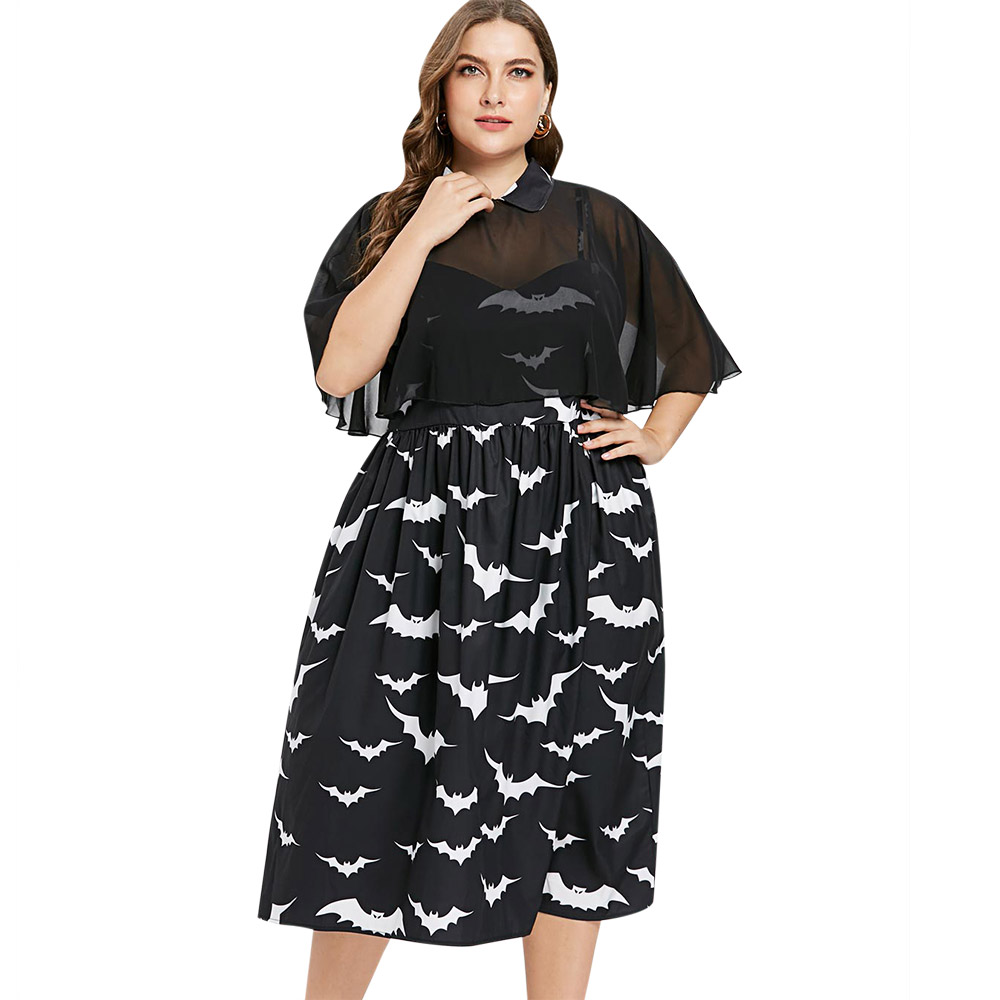 Wipalo Plus Size Bat Print Capelet Dress Vintage Women Peter Pan C...