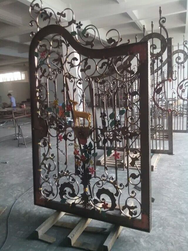 Top Design Wrought Iron Gates Sika Deer Iron Gates