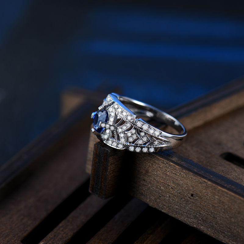 0.53 Karat Diamond Bərk 18K Ağ Qızıl Yastıq 4x5mm Orijinal Mavi - Gözəl zərgərlik - Fotoqrafiya 4