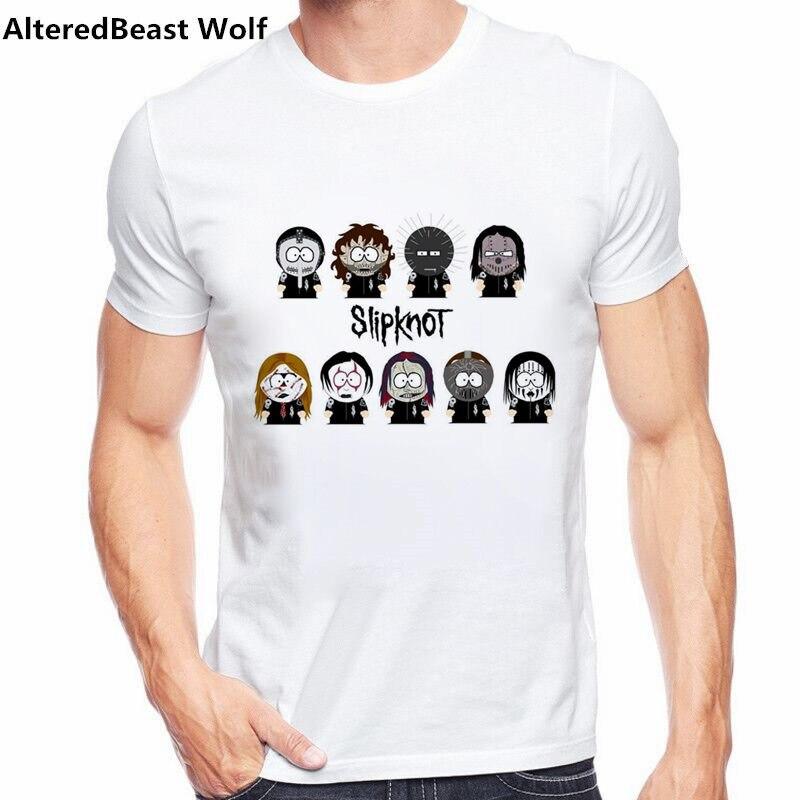 southpark slipknot   T     Shirt   White Color Mens Fashion Short Sleeve Slipknot Logo   T  -  shirt   Tops cartoon anime Cool funny men   T  -  shirt