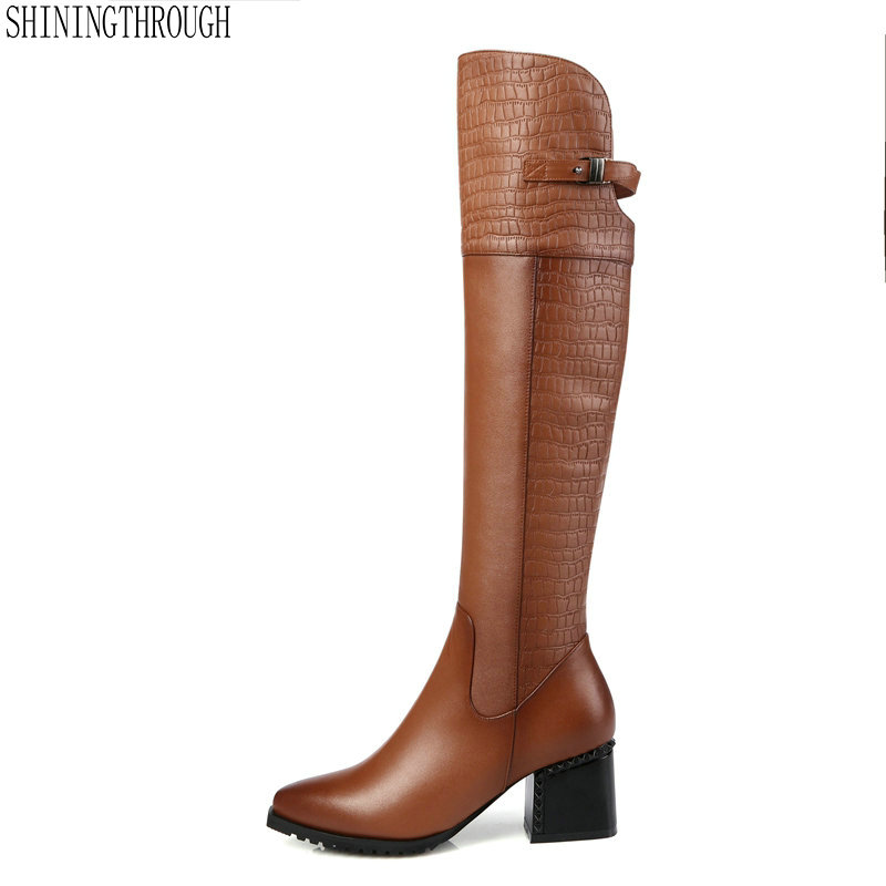 все цены на 2018 New Genuine Leather Womens Knee High Equestrian Riding Boots Buckle Pointed Toe Long Boots Chunky Heel Winter Shoes