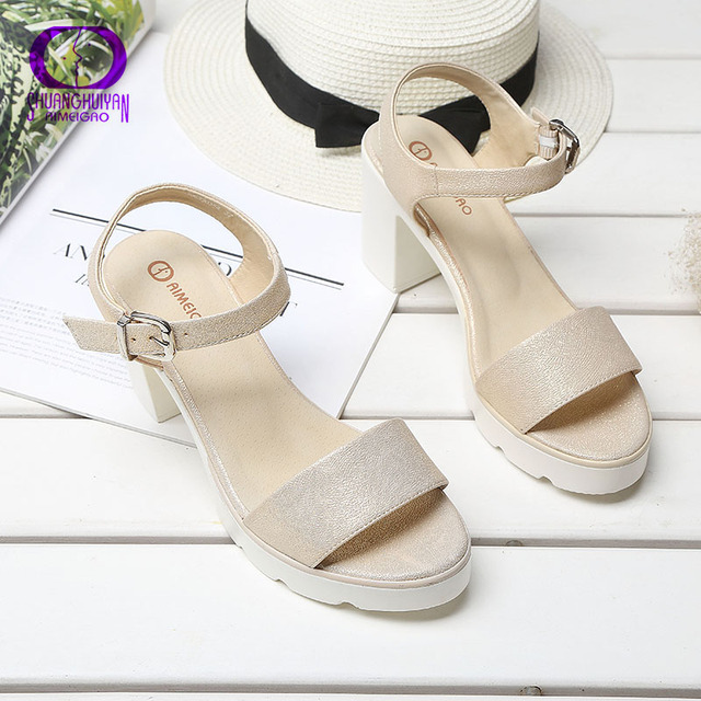 Fashion Ankle Strap Buckle Women Sandals High-heeled Open Toe Thick Platform Summer Shoes Big Size Women Shoes Free Shipping