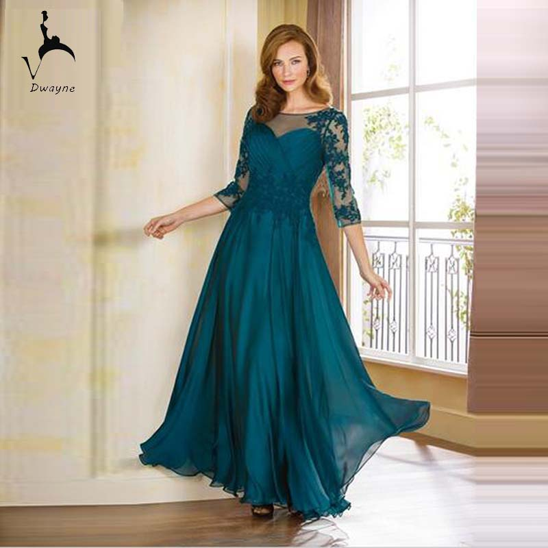 Emerald Green Chiffon Mother of the Bride Dresses Fashion 3 4 Sleeve Design  Mum of the Bride Dresses Good Quality-in Mother of the Bride Dresses from  ... b6547354f
