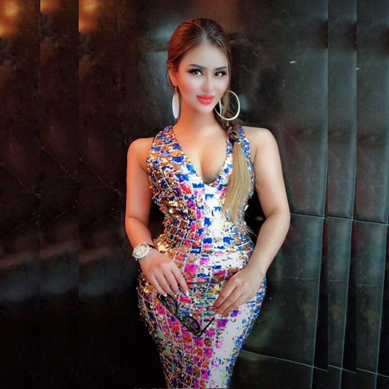 e68dd5cb833 Soirée Celebrity Date Cheville Sequin D été Chic Festa Manches Multicolore  longueur Mode V Cou Femmes Sexy Party Robe ...