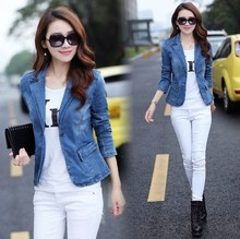 2018 Spring Autumn Short Style Female Slim Fit Denim Blazer Casual Streetwear Top Clothes Women Jeans Blazer Jacket Coat XXXL