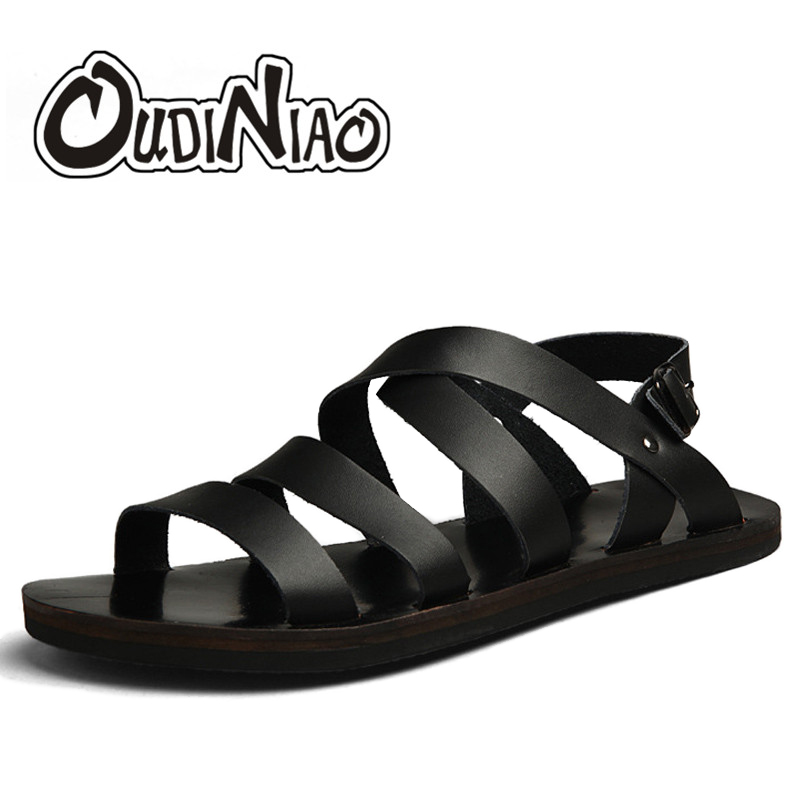 OUDINIAO Herren Schuhe Schwein Leder Männer Sandalen Sommer Männer Schuhe Strand Atmungs Schnalle Gladiator Sandalen Für Männer Zapatillas Hombre