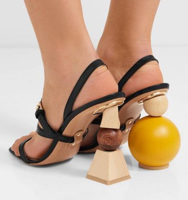 Sestito Women Strange Style Heels Ankle Strap Sandals Ladies Building Blocks Heels Dress Runway Sandals Girls Summer Slingback