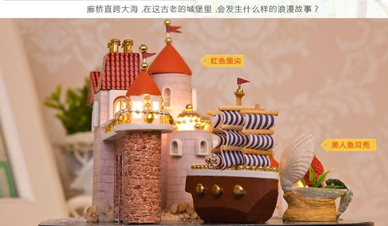 DIY Doll House Boat  Wooden Doll Houses Sweet Mermaid Miniature Home Assembling Toys Dollhouse Diy Glass Ball Toys Kit 2