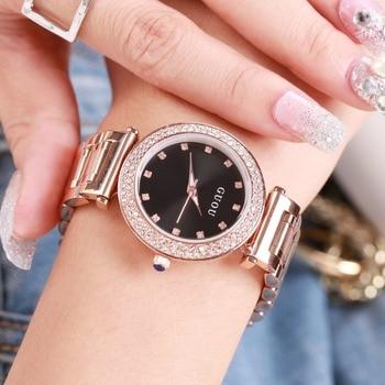 Diamantes señoras reloj hong-kong guou marca oro rosa reloj de acero cuarzo  cristal rhinestone mujeres reloj kobiet zegarka 529c62ac9ef7