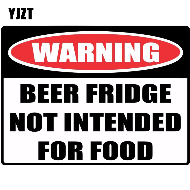 YJZT 16*11.8cm Funny WARNING Sign BEER FRIDGE NOT INTENDED FOR FOOD Car Sticker Retro-reflective Decals C1-8140
