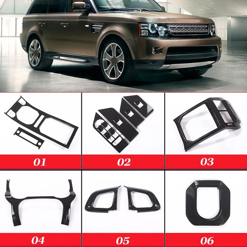 Carbon Fibre Center Console Gear Panel/Window Lift Switch Button Trim Cover Frame for Land Rover Range Rover Evoque 2012 2017
