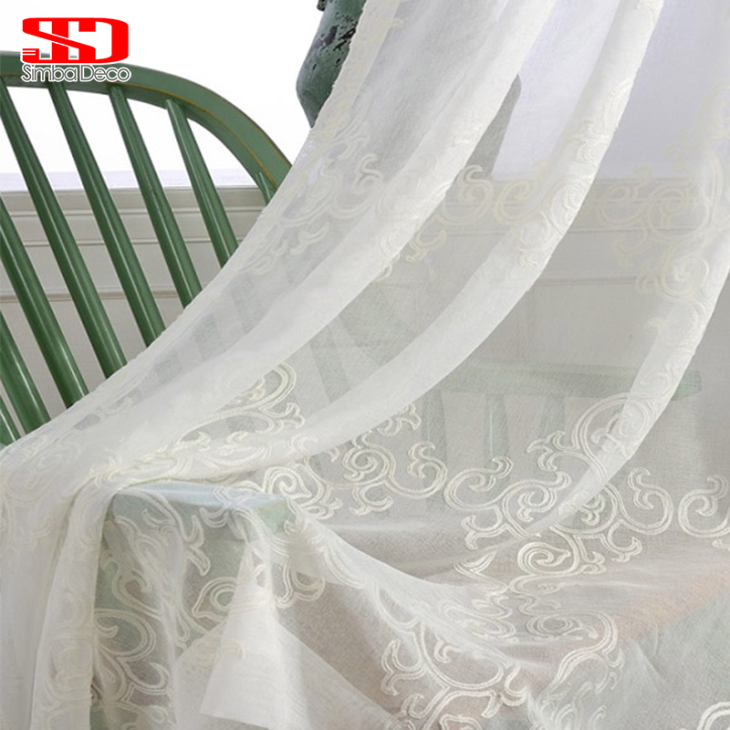 Feste weiße Tüllvorhänge für Wohnzimmer gestickte Damast-Vorhänge für Schlafzimmerfenster-Schleier-bloße Leinen-europäische Platte