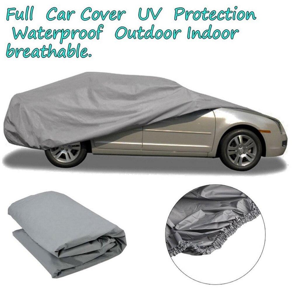 Coche S/M/L tamaño impermeable membrana exterior a prueba de polvo cubierta completa de coche tela resistente a los rayos UV transpirable al aire libre lluvia nieve resistente al hielo
