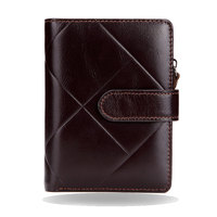 Vintage Genuine Cow Leather Men Wallet Coin Pocket Brand Trifold Multifunction Men Purse High Quality Male