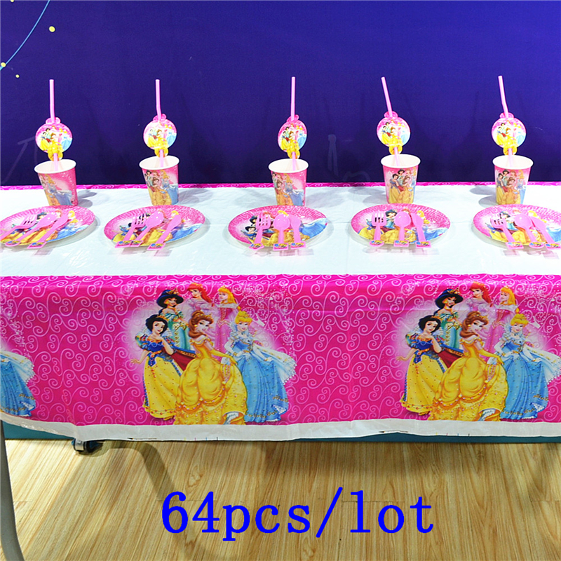 Disney Six Princess Theme Design 64Pcs/Lot Snow White Cute Tableware Noise Maker Birthday Party Family Party Decoration Supply