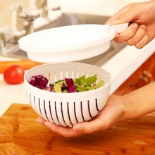 PVC Bowl Tools White Salad Bowl In 60 Second Maker Healthy Fresh Salads Made Easy Salad Cutter Kitchen tools
