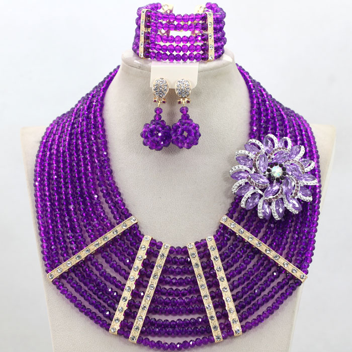 Graceful Purple Nigerian Wedding Party Beads Necklace Set African Crystal Costume Beads Jewelry Set Fashion Set Free Ship QW447 graceful white african bridal beads jewelry set nigerian crystal rhinestone bridesmaid women wedding necklace free ship qw677