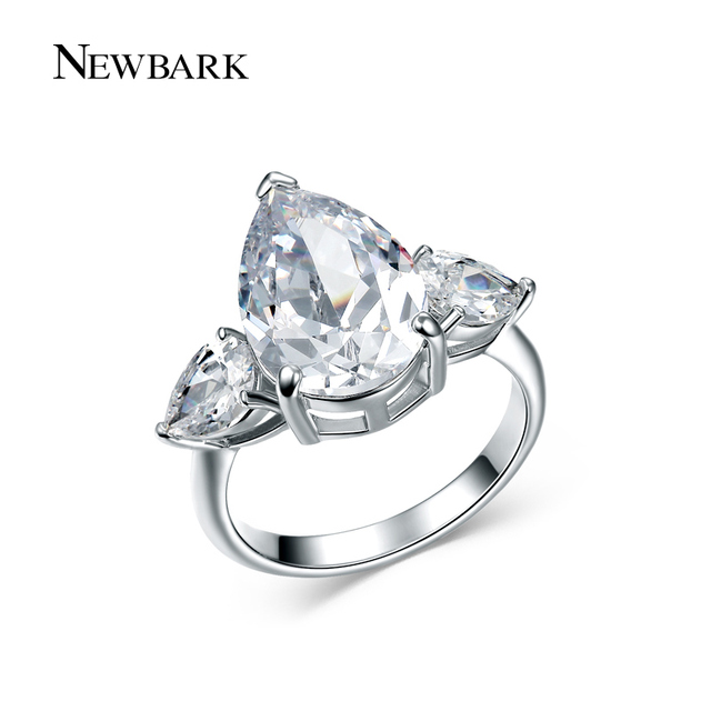 newbark prong setting copper engagement ring water drop zirconia jewelry silver color fashion big wedding bands - Big Wedding Ring