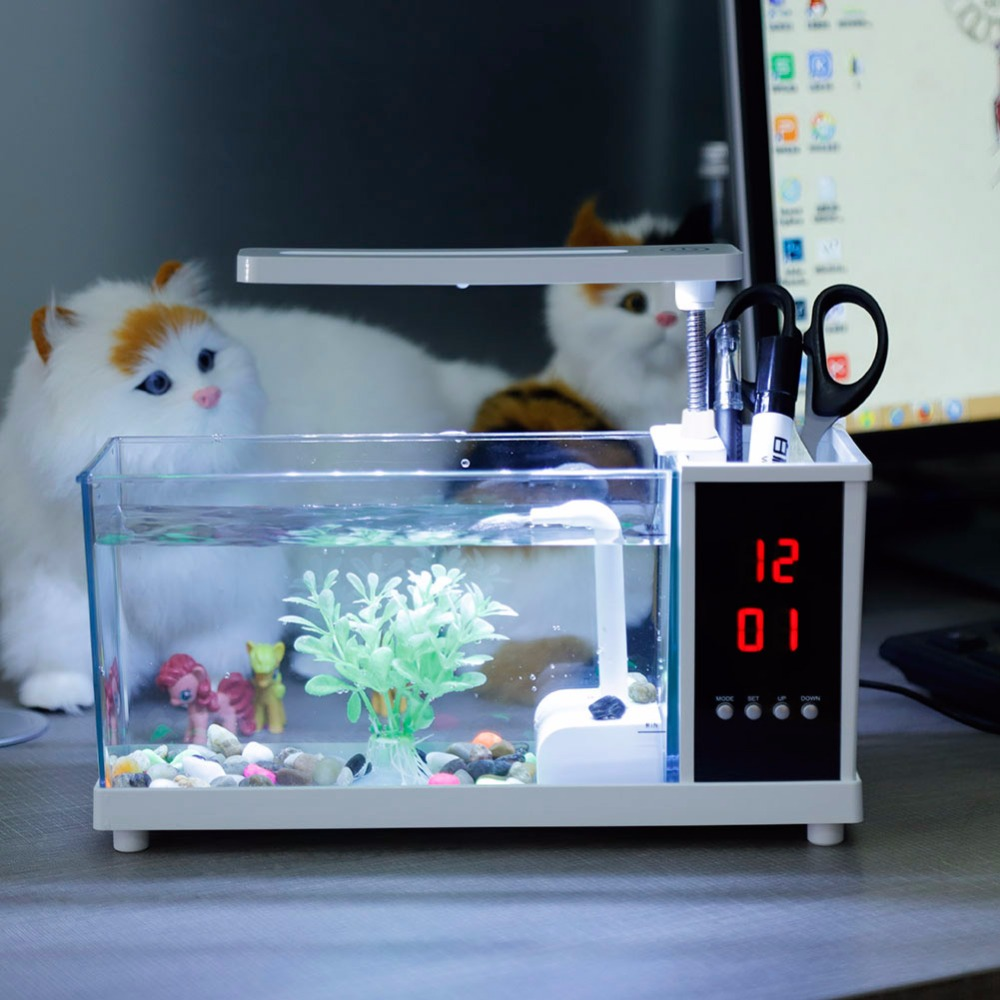 Mini Aquarium décontracté Aquarium Nouvel Aquarium Rassurant USB D'aquarium avec lampe à LED Lumière D'écran D'affichage À CRISTAUX LIQUIDES et Horloge Poisson Réservoir D45