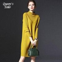 5XL Plus Size Woman Sweater Dress Autumn Female Knittied Loose Dress Winter Warm Femme Robe