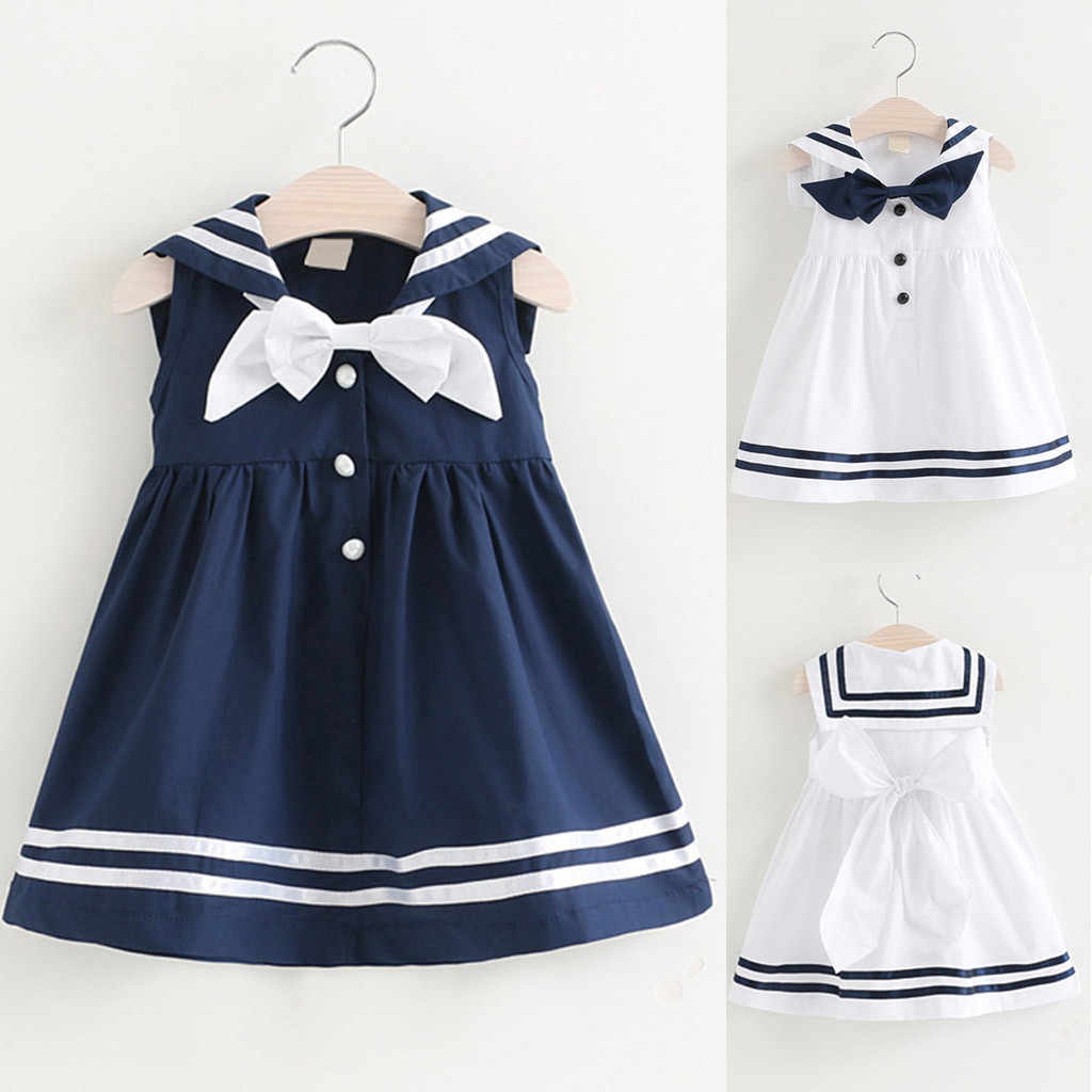 Summer Casual Kids Baby Girls Dress Clothes Set Sleeveless Navy Bowknot Dresses Sailor suit straight skirt One Piece етскя оежд