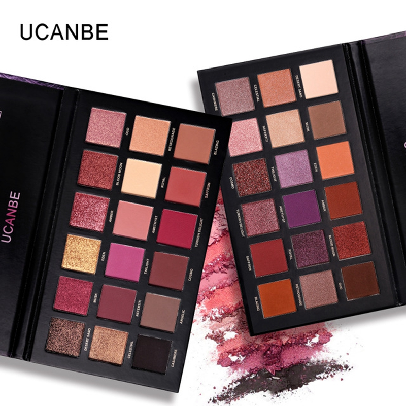 цены UCANBE Brand 18 Colors Eyeshadow Makeup Palette Shimmer Matte Chrome Pigmented Pressed Eyes Shadow Natural Long Lasting Cosmetic