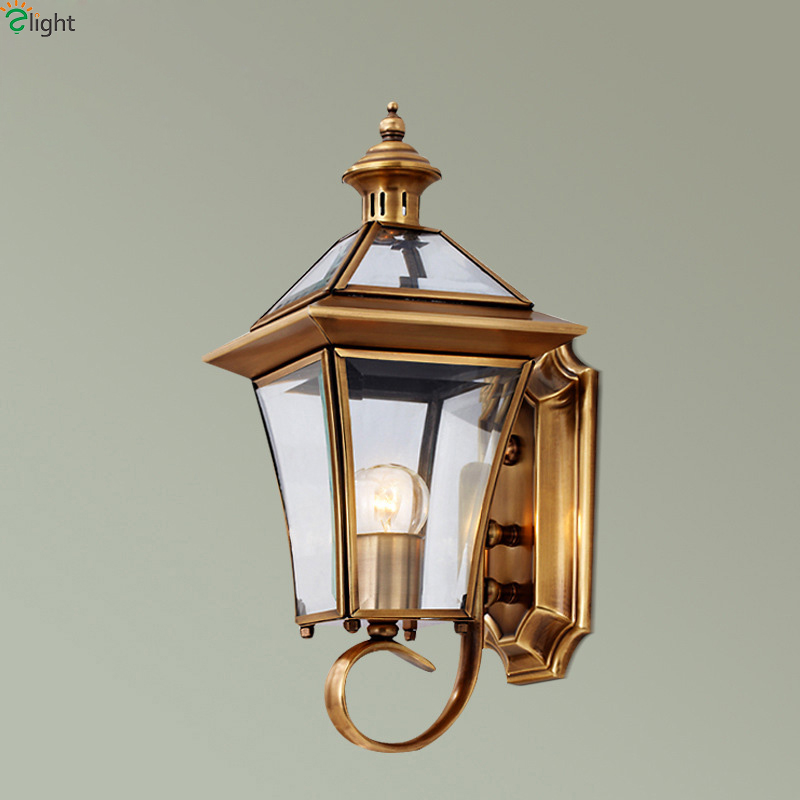 Europe Retro Glass Led Wall Lights Fixtures Lustre Copper Indoor Balcony Led Wall Lamp Outdoor Waterproof Wall Light Luminarias europe retro lustre solid copper led wall lamp luminarias simple fabric shades bedroom led wall lights fixtures foyer wall light