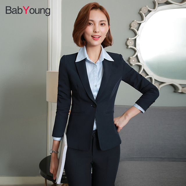 59185b63aa2 US $48.12 39% OFF|BabYoung Office Lady Blazer Suit Navy Blue Black Coat  with Pants Normal Style Jackets Suit Single Button Blazers Tops S 5XL-in ...