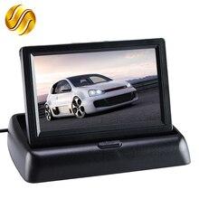 """자동차 모니터 4.3 """"후면보기 카메라 Foldable 컬러 TFT LCD 4.3 인치 HD 화면 자동차 역방향"""
