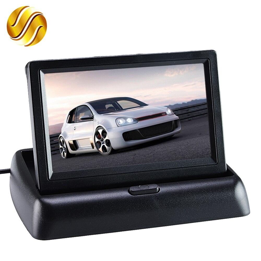 """Автомобиль Мониторы 4.3 """"Дисплей для заднего вида Камера складной Цвет TFT ЖК-дисплей 4.3 дюймов HD Экран для автомобиля обратный"""