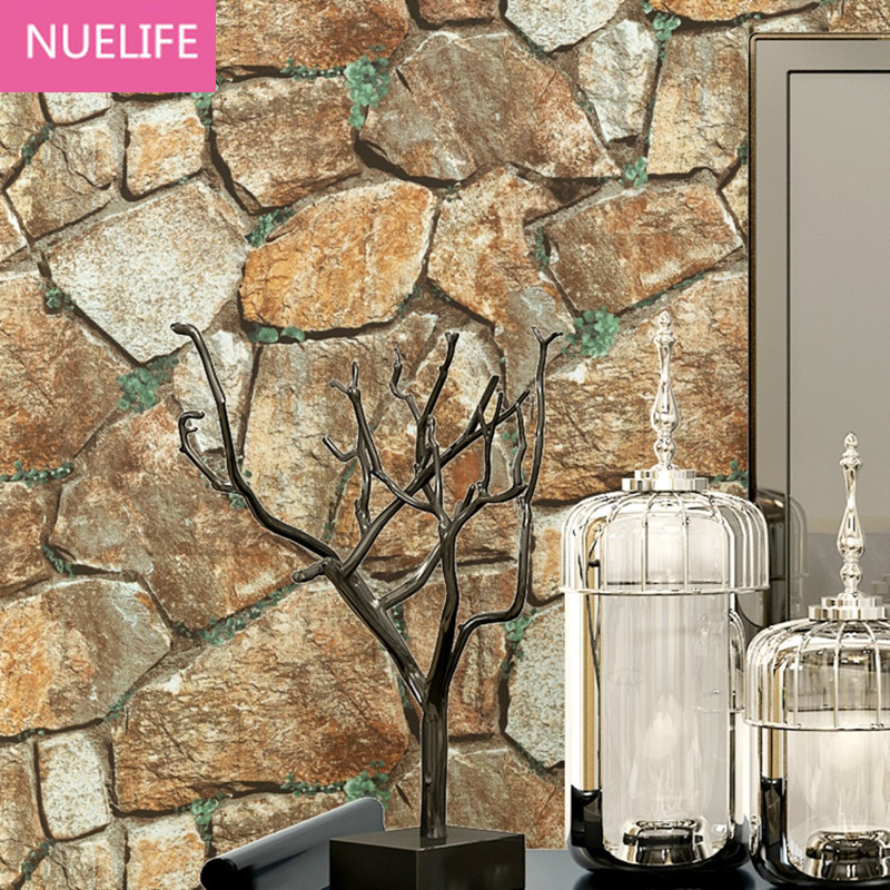 0.53x10 Meter Retro simulation 3D stone pattern brick wallpaper living room bedroom restaurant  bar KTV tooling wallpaper